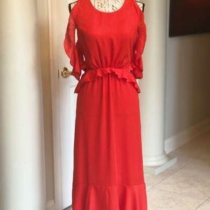 Fiery Red Rufled Peek A Boo, Side Cut Out Dress
